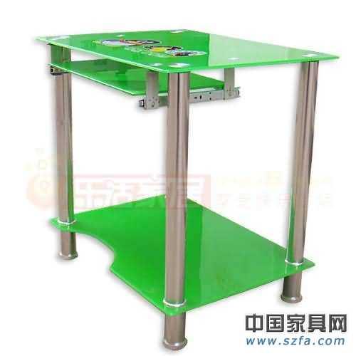 乐活qq钢化玻璃绿色电脑桌/不锈钢管/电脑桌