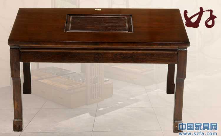 比一壶红木家具/功夫茶桌实木仿古家具黑胡桃木方形茶桌073