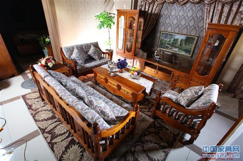 田园风格实木沙发茶几电视柜客厅系列桃花心木家具