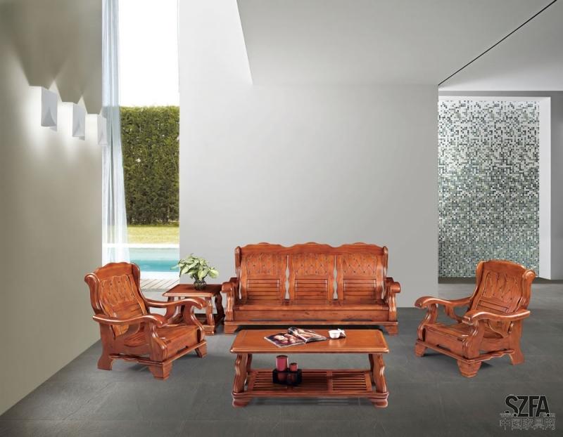 欧式简约木办公沙发图片