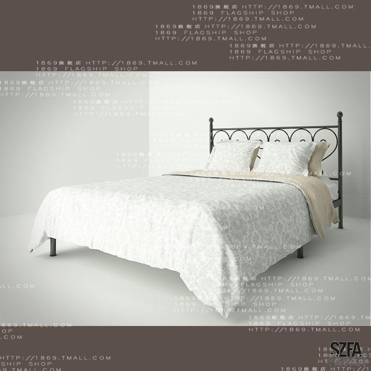 阿维尼亚W001地中海铁艺床无尾床双人床单补白漆怎么家具图片