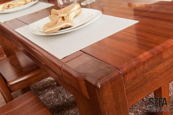 马世纯实木黄金胡桃木餐桌餐椅