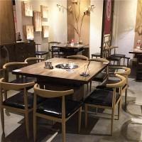惠州火锅桌定做,冬季火锅餐桌椅批发,实木大理石餐桌配电磁炉