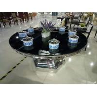 厂家直销钢化玻璃火锅桌大理石餐桌 电磁炉桌子 不锈钢隐形火锅