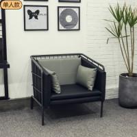 北欧休闲小户型卡座铁艺服装店单双人沙发椅咖啡厅奶茶店