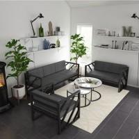 北欧客厅铁艺沙发组合 loft办公室多人位卡座复古酒吧咖啡厅